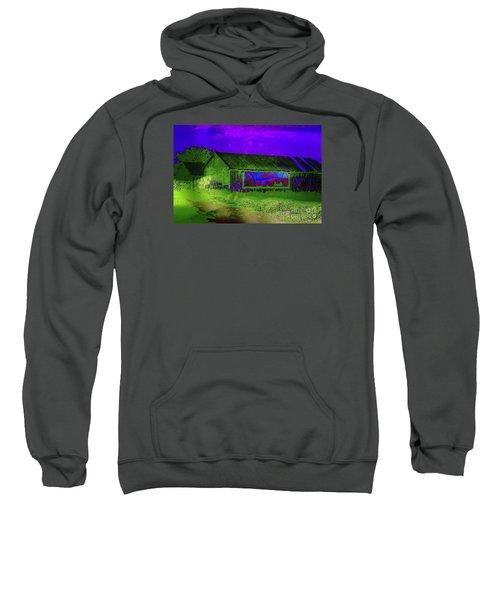 Sweatshirt featuring the photograph Surreal Barn Graffiti by Dee Flouton