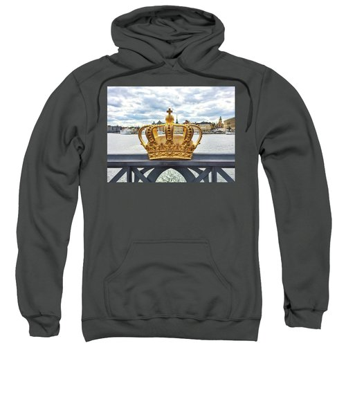 Swedish Royal Crown On A Bridge In Stockholm Sweatshirt by GoodMood Art
