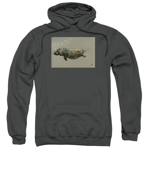 Swimming Hippo Sweatshirt by Juan  Bosco