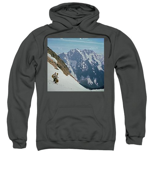 T-04402 Fred Beckey And Joe Hieb After First Ascent Forbidden Peak Sweatshirt