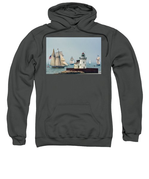Tall Ships At Cleveland Lighthouse Sweatshirt