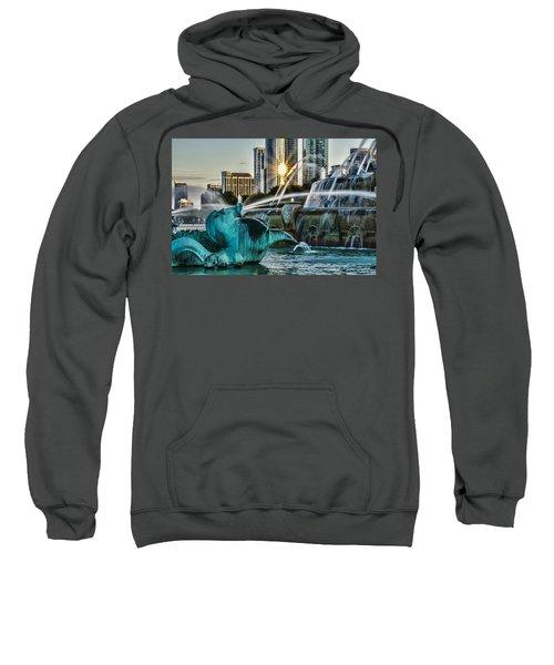 telephoto look at Chicago's Buckingham Fountain  Sweatshirt