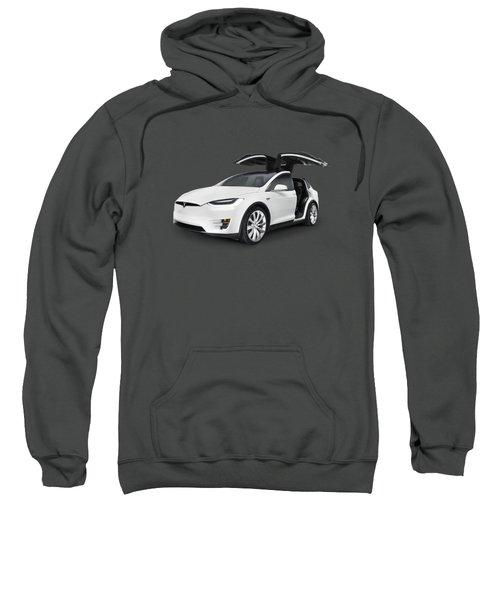 Tesla Model X Luxury Suv Electric Car With Open Falcon-wing Doors Art Photo Print Sweatshirt by Oleksiy Maksymenko