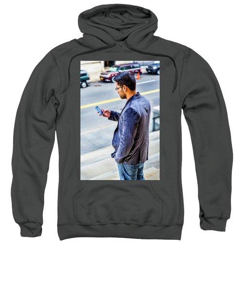 Man Texting Sweatshirt