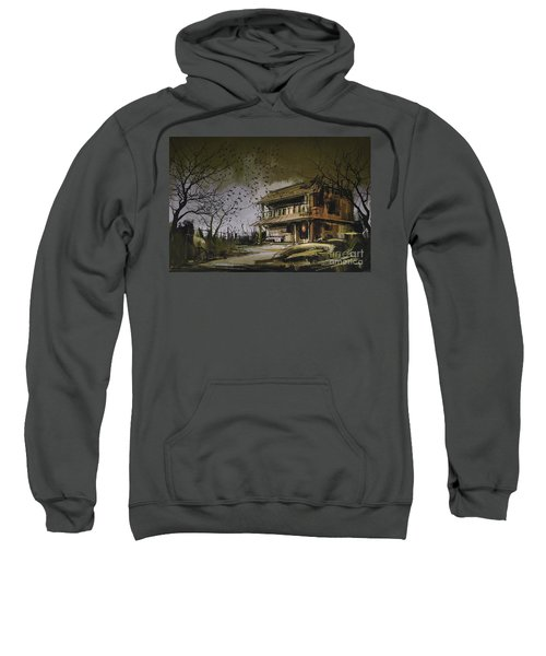 Sweatshirt featuring the painting The Abandoned House by Tithi Luadthong