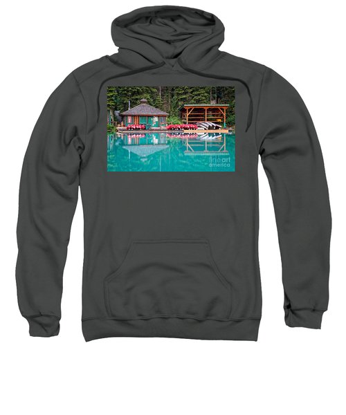 The Boat House At Emerald Lake In Yoho National Park Sweatshirt
