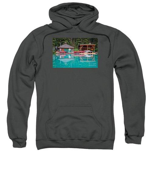 The Boat House At Emerald Lake In Yoho National Park Sweatshirt