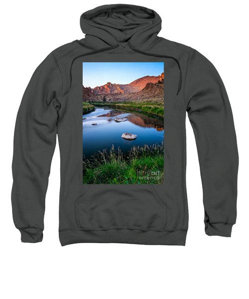 The Crooked River Runs Through Smith Rock State Park  Sweatshirt