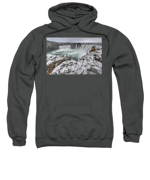 The Godafoss Falls In Winter Sweatshirt