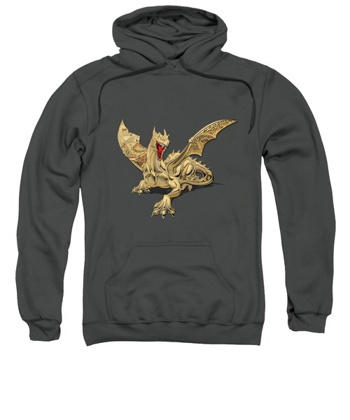 The Great Dragon Spirits - Golden Guardian Dragon On Red And Black Canvas Sweatshirt