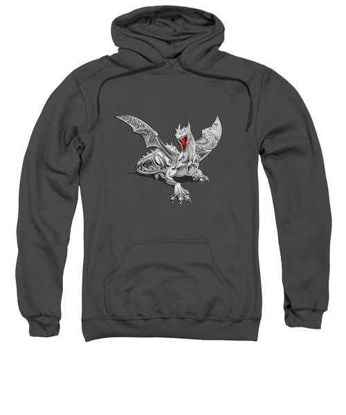 The Great Dragon Spirits - Silver Guardian Dragon On Black And Red Canvas Sweatshirt