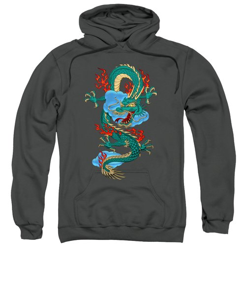 The Great Dragon Spirits - Turquoise Dragon On Red Silk Sweatshirt
