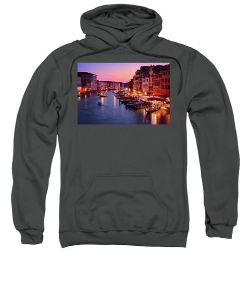 The Blue Hour From The Rialto Bridge In Venice, Italy Sweatshirt