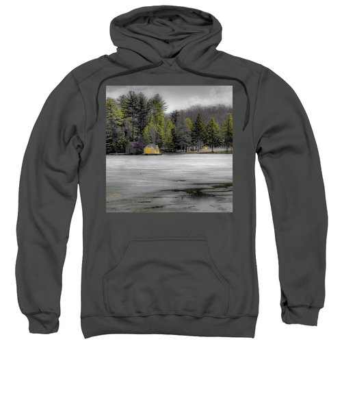 Sweatshirt featuring the photograph The Lighthouse On Frozen Pond by David Patterson