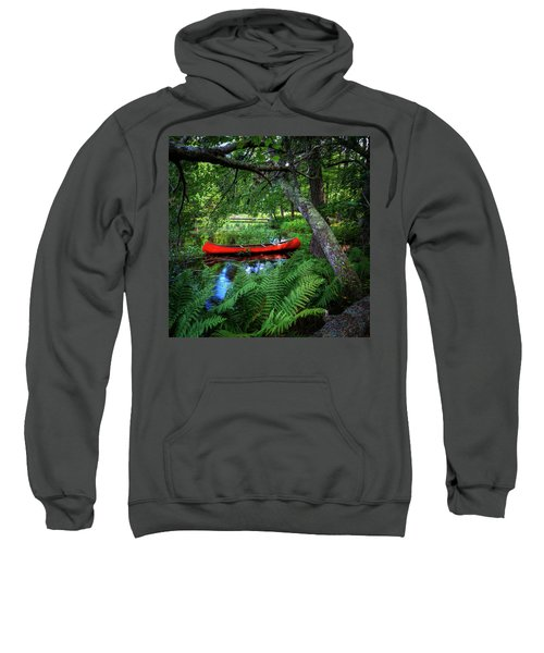 The Red Canoe On The Lake Sweatshirt