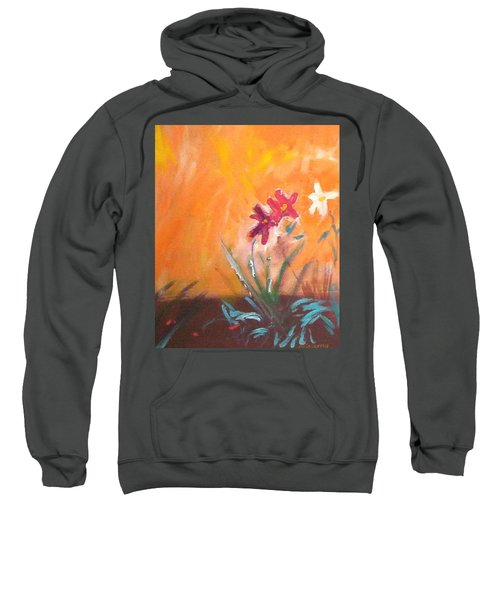 Sweatshirt featuring the painting The Three Daisies by Winsome Gunning