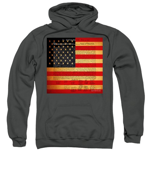The United States Declaration Of Independence - American Flag - Square Sweatshirt