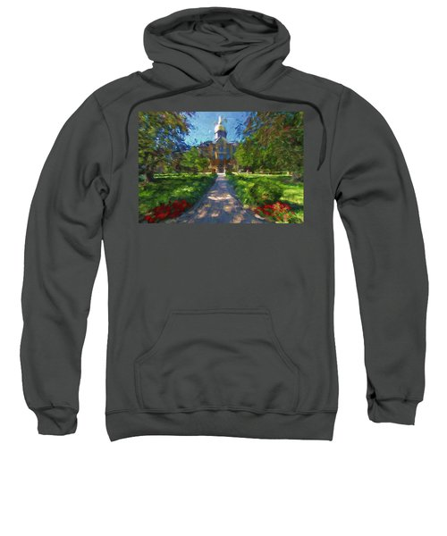 Sweatshirt featuring the painting The University Of Notre Dame by Dan Sproul