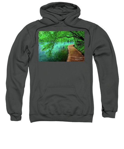 Tree Hanging Over Turquoise Lakes, Plitvice Lakes National Park, Croatia Sweatshirt