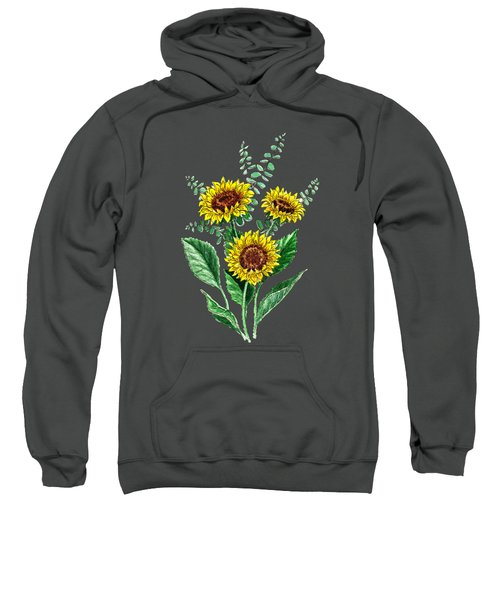 Three Playful Sunflowers Sweatshirt