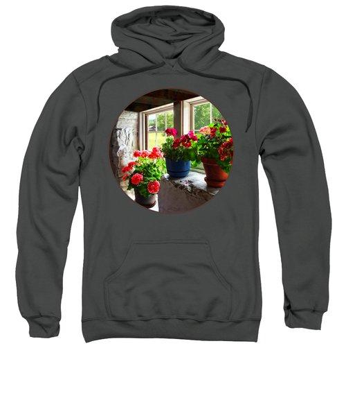 Three Pots Of Geraniums On Windowsill Sweatshirt