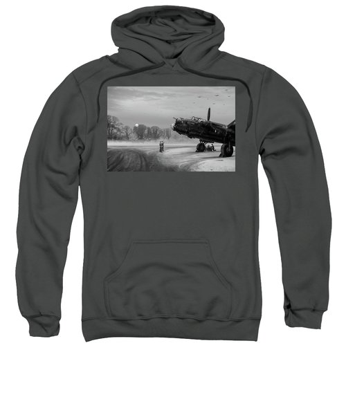 Sweatshirt featuring the photograph Time To Go - Lancasters On Dispersal Bw Version by Gary Eason