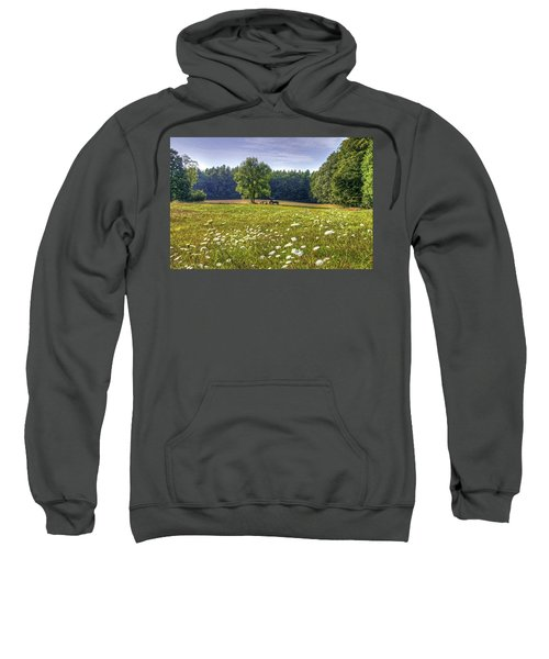 Tractor In Field With Flowers Sweatshirt