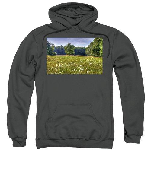 Tractor In Field With Flowers Sweatshirt