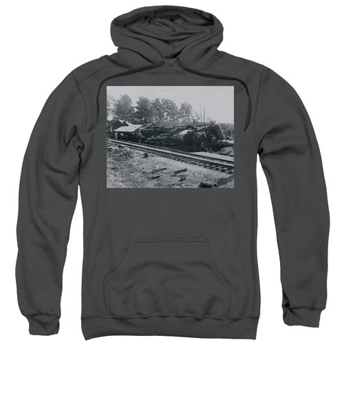 Sweatshirt featuring the photograph Train Derailment by Jeanne May