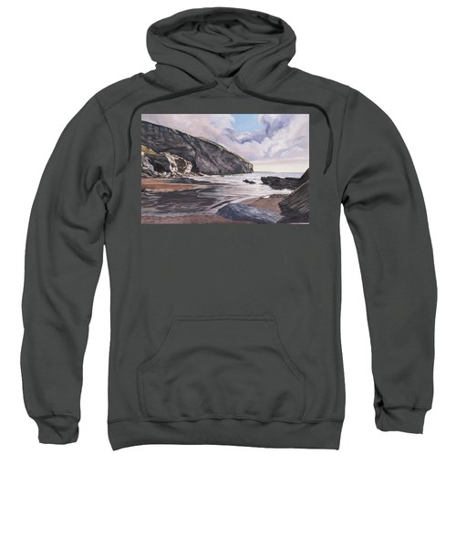Sweatshirt featuring the painting Trebarwith Strand by Lawrence Dyer