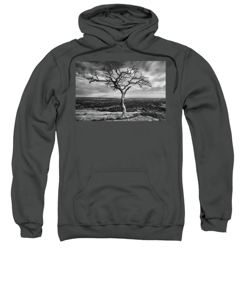 Tree On Enchanted Rock In Black And White Sweatshirt