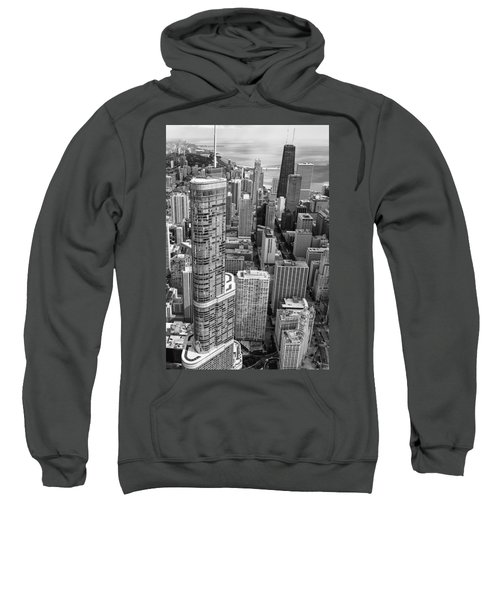 Sweatshirt featuring the photograph Trump Tower And John Hancock Aerial Black And White by Adam Romanowicz