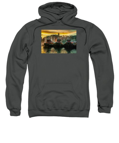 Tugboats In Portsmouth Harbor At Dawn Sweatshirt