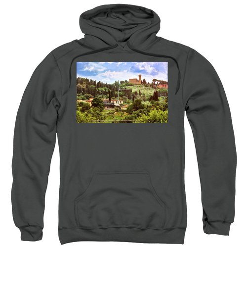 Tuscan Fields And Old Castle In Florence Sweatshirt