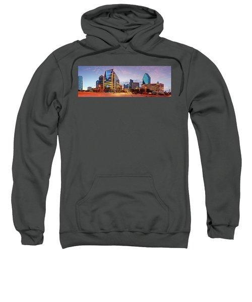 Twilight Panorama Of Downtown Dallas Skyline - North Akard Street Dallas Texas Sweatshirt