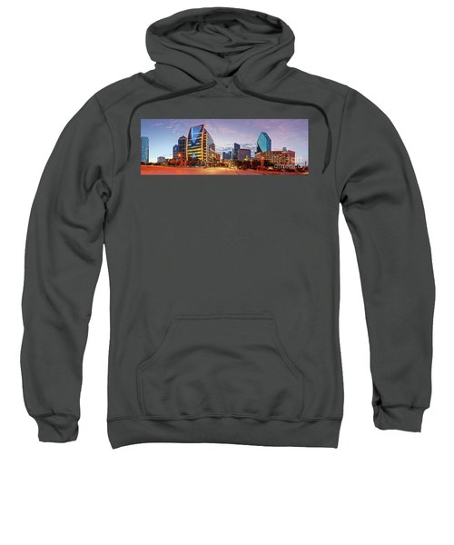Twilight Panorama Of Downtown Dallas Skyline - North Akard Street Dallas Texas Sweatshirt