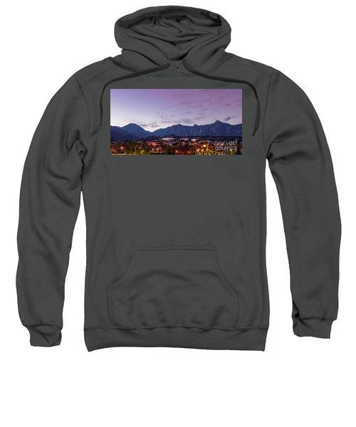 Twilight Panorama Of Estes Park, Stanley Hotel, Castle Mountain And Lumpy Ridge - Rocky Mountains  Sweatshirt