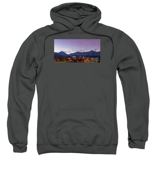 Twilight Panorama Of Estes Park, Stanley Hotel, Castle Mountain And Lumpy Ridge - Rocky Mountains  Sweatshirt