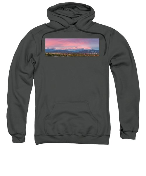 Twilight Panorama Of Sangre De Cristo Mountains And Santa Fe - New Mexico Land Of Enchantment Sweatshirt