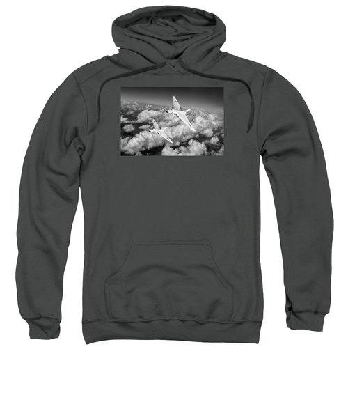 Sweatshirt featuring the photograph Two Avro Vulcan B1 Nuclear Bombers Bw Version by Gary Eason