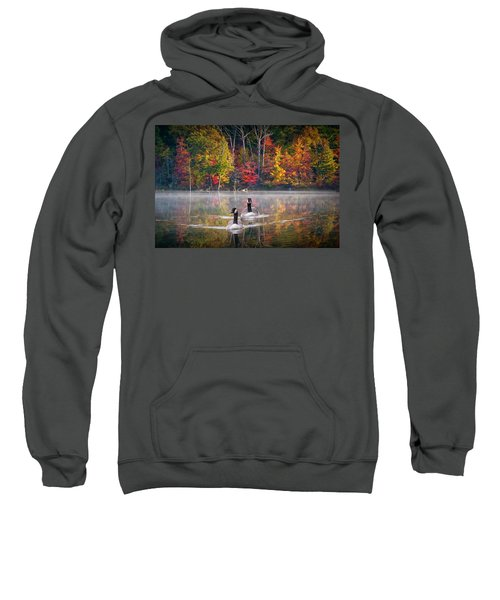 Two Canadian Geese Swimming In Autumn Sweatshirt