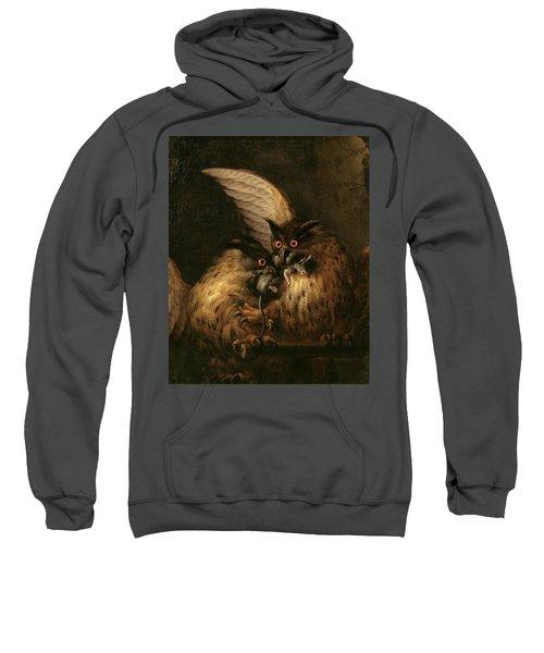 Two Owls Fighting Over A Rat Sweatshirt