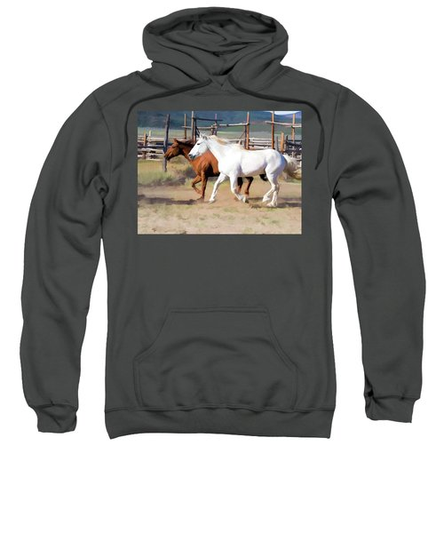 Two Ranch Horses Galloping Into The Corrals Sweatshirt