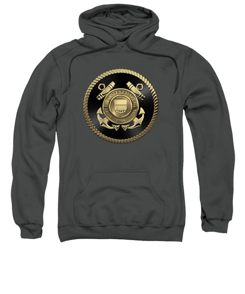 U. S.  Coast Guard  -  U S C G Emblem Black Edition Over Red Velvet Sweatshirt