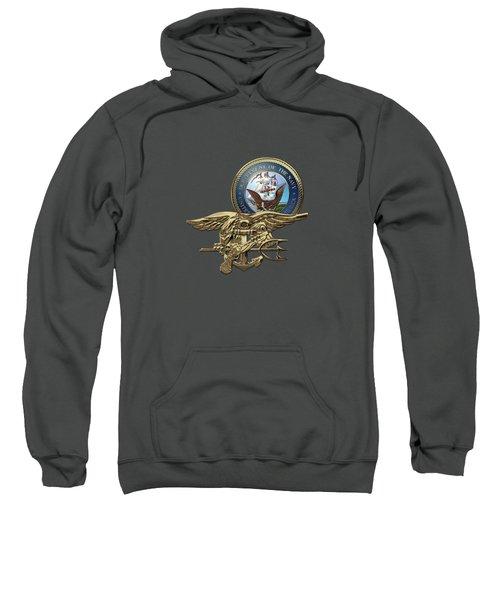 U. S. Navy S E A Ls Trident Over Red Velvet Sweatshirt