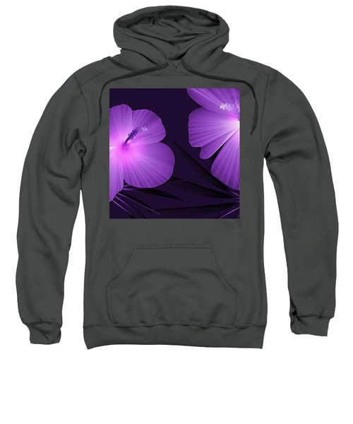Ultraviolet Hibiscus Tropical Nature Print  Sweatshirt