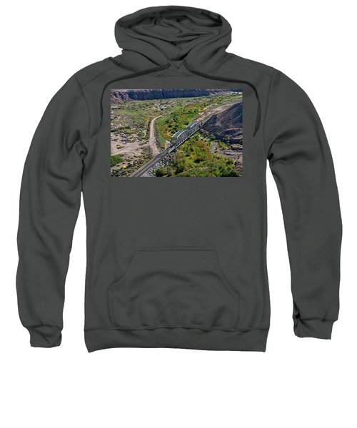 Sweatshirt featuring the photograph Up Tracks Cross The Mojave River by Jim Thompson