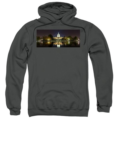 Us Capitol Night Panorama Sweatshirt