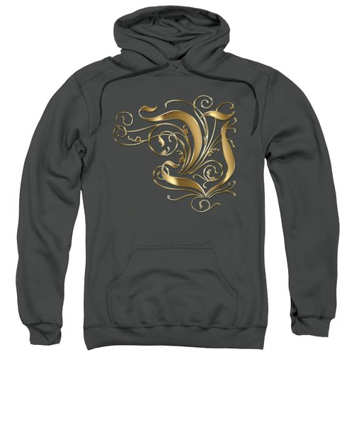 V Golden Ornamental Letter Typography Sweatshirt