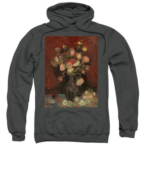 Vase With Chinese Asters And Gladioli Sweatshirt